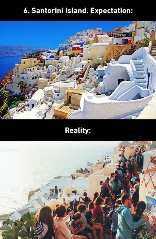 santorini island expectations vs. realty
