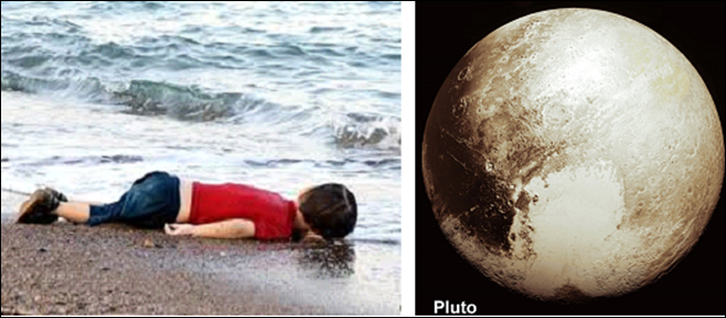 2015 criança refugiada morta na praia e Plutão