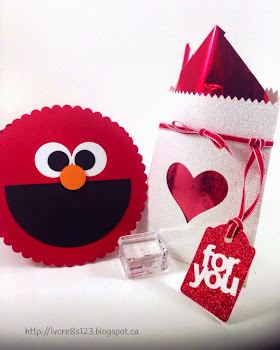 Linda Vich Creates: Valentine Round Up. Punch art Elmo card accompanied by Dazzling Diamonds Mini Treat Bag.