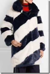 J Crew Geo Striped faux fur coat