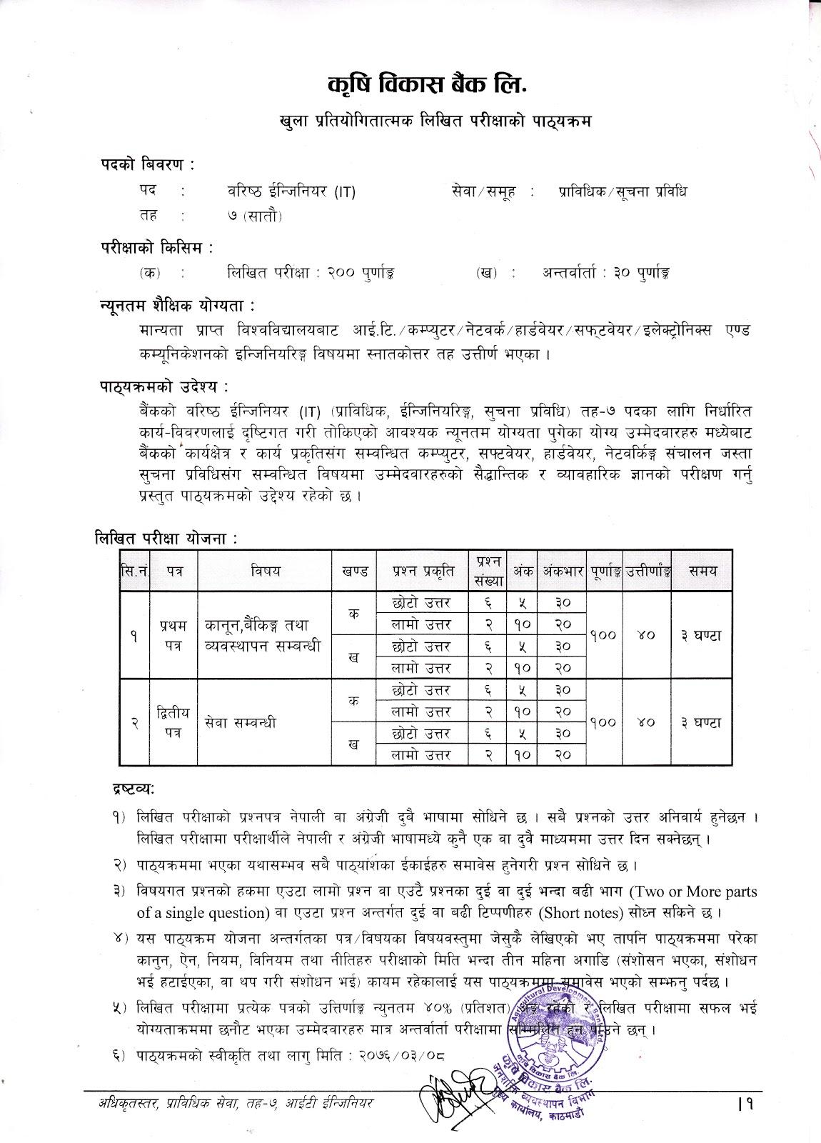 Syllabus for Level -7 Senior Engineer (IT) ADBL
