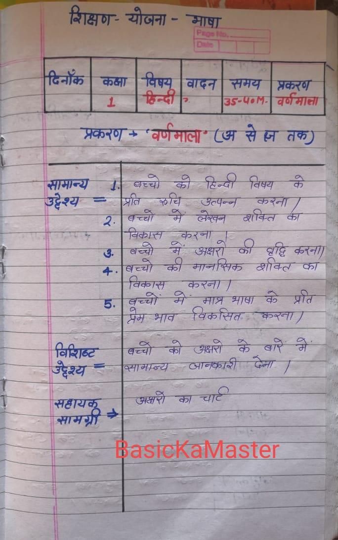 शिक्षण योजना 11 कक्षा 1 हिन्दी प्रकरण वर्णमाला
