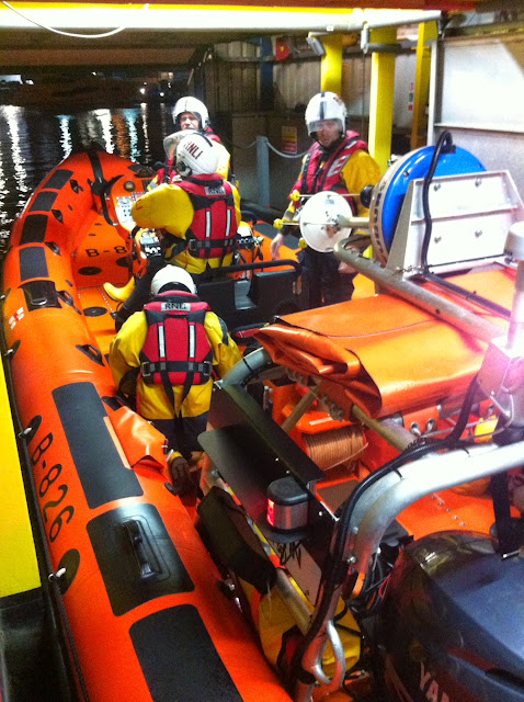 Poole inshore lifeboat crew launching on their 5,001st shout to a broken down dory. 16 June 2014 Photo: RNLI Poole/Dave Riley