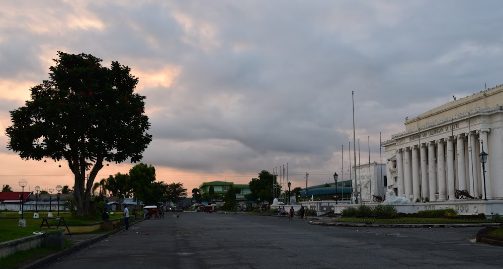 The capitol building of Leyte Island, in Tacloban city, on a colourful cloudy sunset...