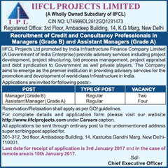 IIFCL Projects Limited Jobs 2016-17 www.indgovtjobs.in