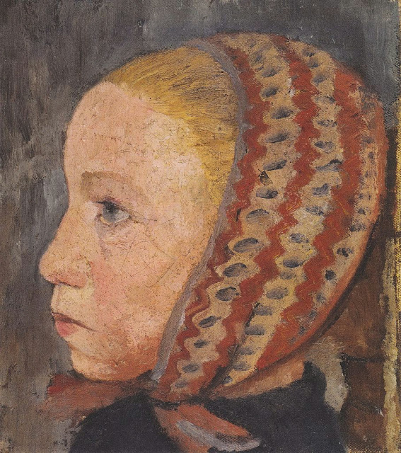 Paula Modersohn-Becker - Mädchenkopf mit gestreifter Mütze im Profil nach links