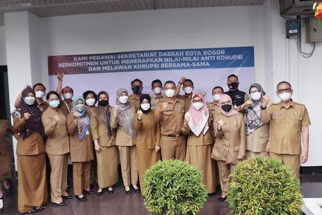 Pegawai Setda Kota Bogor Teken Komitmen Terapkan Nilai-Nilai Anti Korupsi