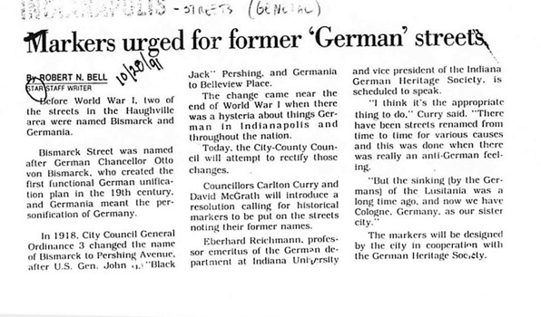 German Streets Newspaper Article, 1991