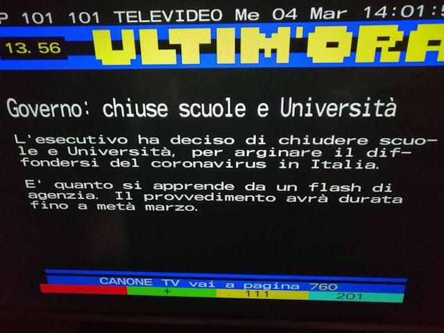 Governo, coronavirus: chiuse scuole e Università in tutta Italia