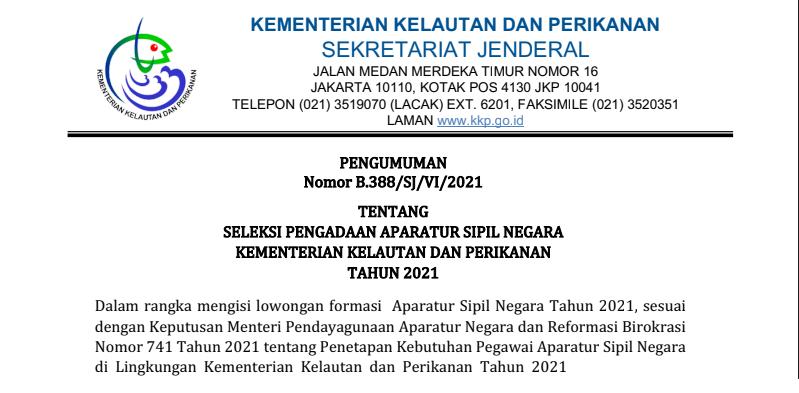 Pengumuman Rincian Formasi dan Persyaratan CPNS dan PPPK Kementerian Kelautan dan Perikanan Tahun 2021