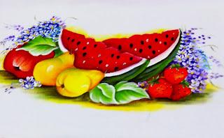 pintura de melancia com frutas