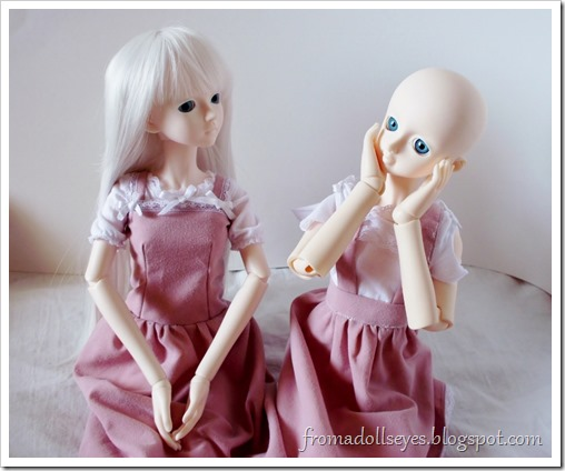 Ball Jointed Dolls in Matching Pink Outfits