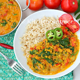 Vegan Lentil Spinach Tomato Curry.