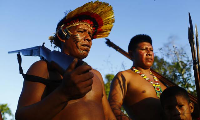 Ka'apor forest guardians patrol the borders of their territory, in Maranhão state, Brazil. Photo: Lunae Parracho / The Observer