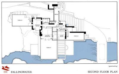 مخطط الدور الثاني - منزل كوفمان - فرانك لويد رايت