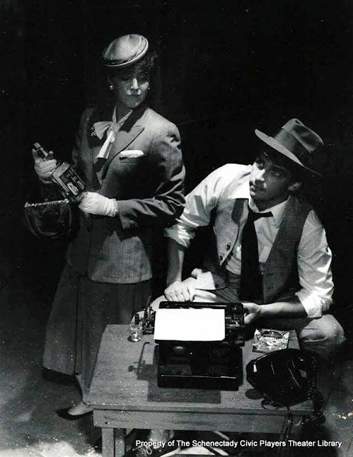 Barbara Early and Patrick McKenna in rehearsal for TRIXIE TRUE, TEEN DETECTIVE - August 1984.  Property of The Schenectady Civic Players Theater Archive.