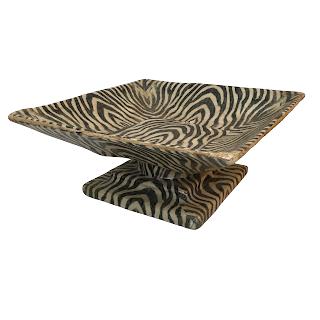 Papier-Mâché Zebra Pedestal Bowl