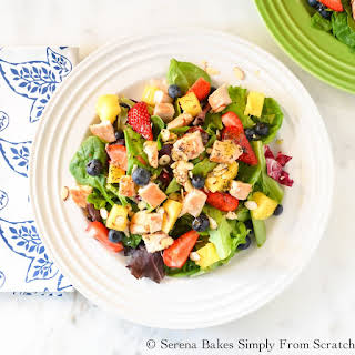 Chicken Strawberry Blueberry Pineapple Salad With Poppy Seed Dressing.