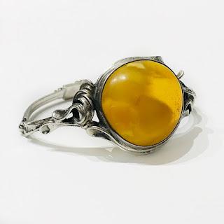 800 Silver & Butterscotch Amber Art Nouveau Bracelet