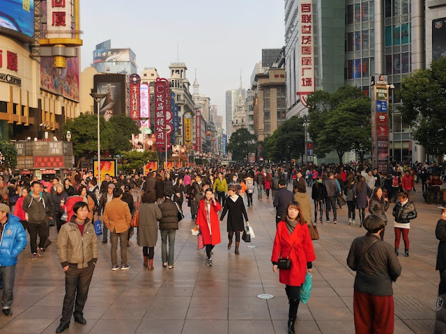 people on Nanjing Road Pedestrian Street in Shanghai
