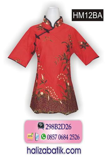 HM12BA Blus Batik Modern, Busana Masa Kini, Contoh Motif Batik, HM12BA