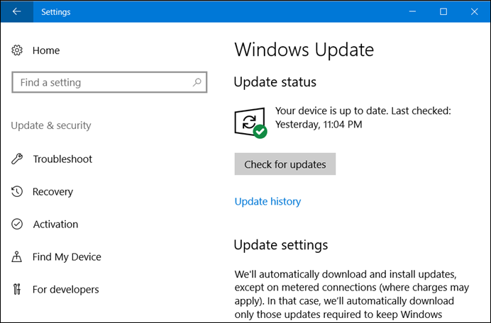 Reduced Windows 10 Update Settings pages (www.kunal-chowdhury.com)