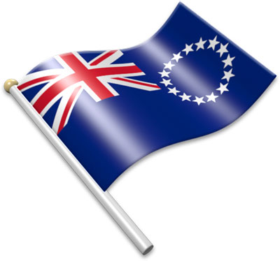 The Cook-Island flag on a flagpole clipart image