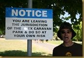 Caravan park warning sign