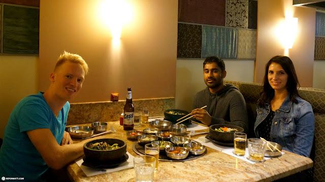 enjoying Korean food with my friends Serge & Nicole in San Jose in Mountain View, California, United States