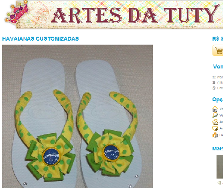 Chinelo customizado para copa do mundo Brasil