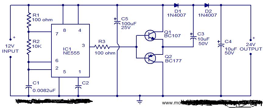 Circuit Doubleur De Tension 12v Vers 24v 224 Base De Ne555