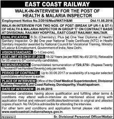 East Coast Railway Health and Malaria Inspector 2016