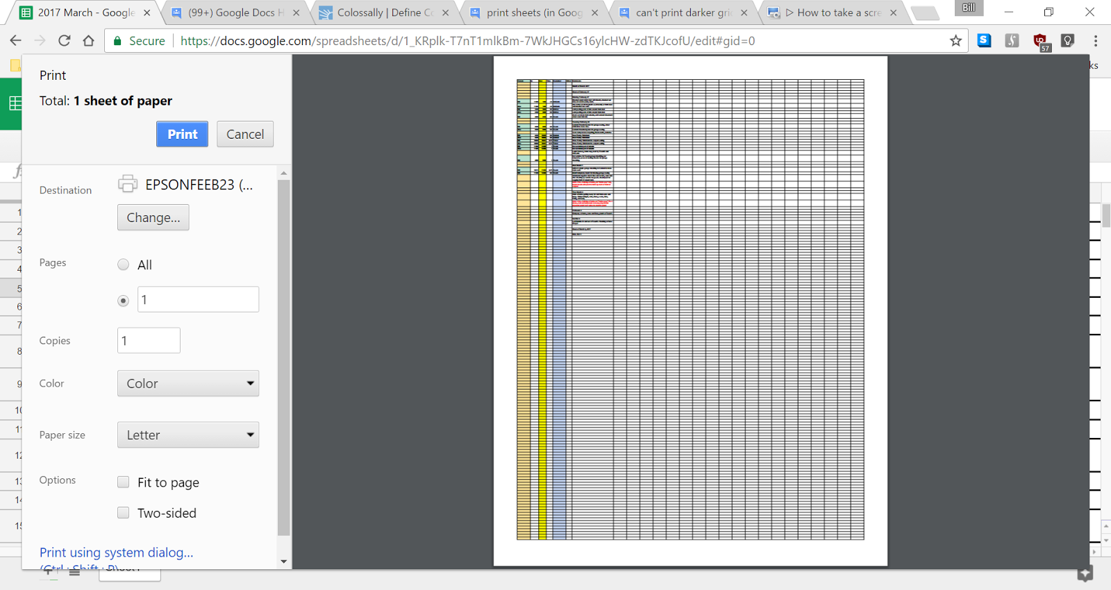 can't print darker gridlines on google sheets? seriously