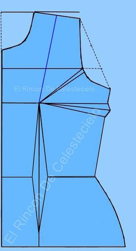 Trazo de corte francés sobre patrón básico de blusa con pinzas