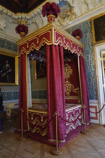 Queen's bed in Wilanow Palace in Warsaw Poland