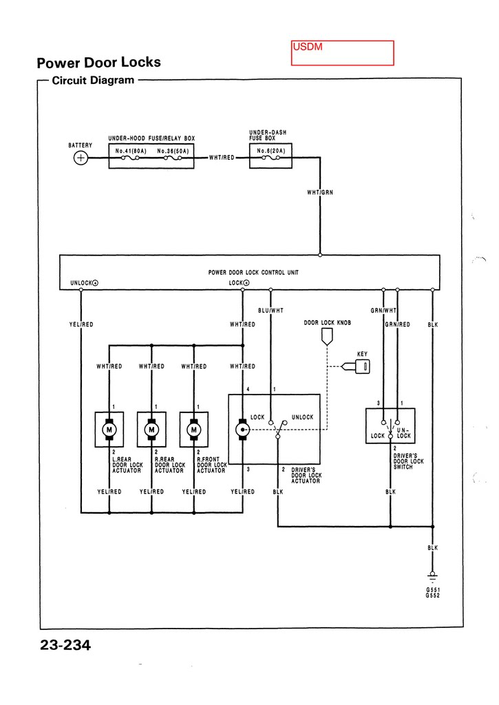 Electrical_USDM_92 95_civic_Page_232 power lock wiring diagram power locks wiring diagram 2000 celica Door Lock Relay Wiring at gsmx.co