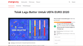 Petisi Tolak Lagu Butter Di Euro 2020