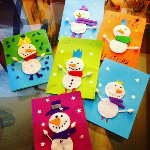 Manualidades con niños tarjetas de navidad muñeco de nieve