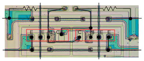 The circuitry of one storage cell of the 3101 RAM chip. The two multiple-emitter transistors are outlined in red.