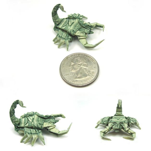 Оригами из долларовых банкнот. 12 фото