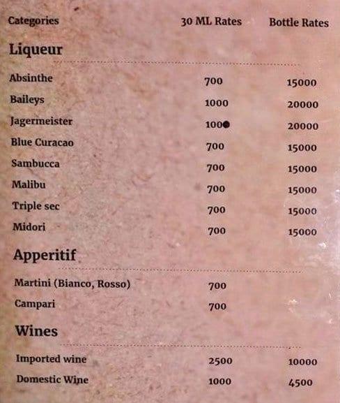 Privee menu 2