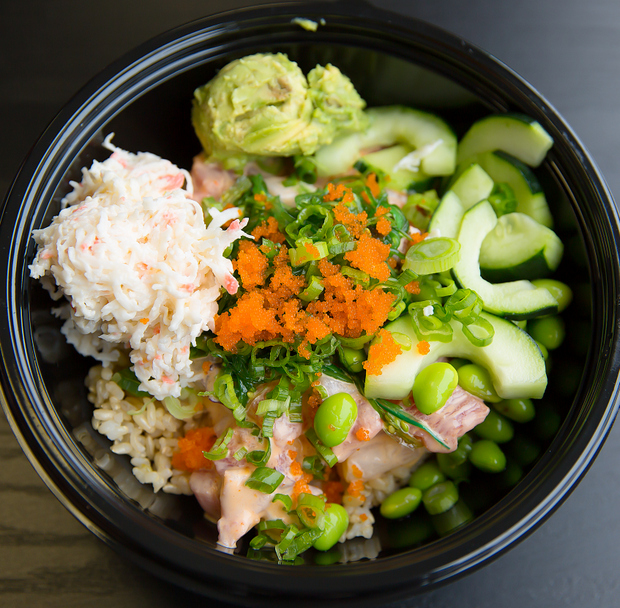 photo of a customized large poke bowl