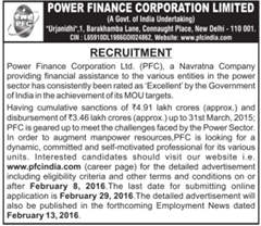 PFC Recruitment 2016 indgovtjobs