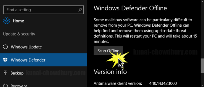 How to start Windows Defender's offline scan (www.kunal-chowdhury.com)