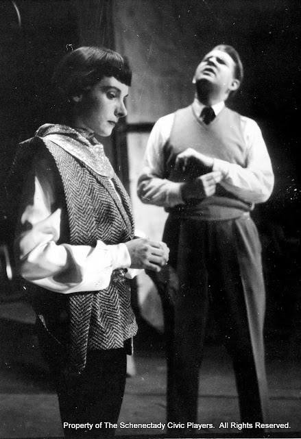 Bertha Miller and Ed Dahlstedt in rehearsal for JOAN OF LORRAINE - March 1955.  Property of The Schenectady Civic Players Theater Archive.