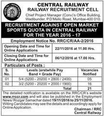 RRCCR Recruitment 2016-17