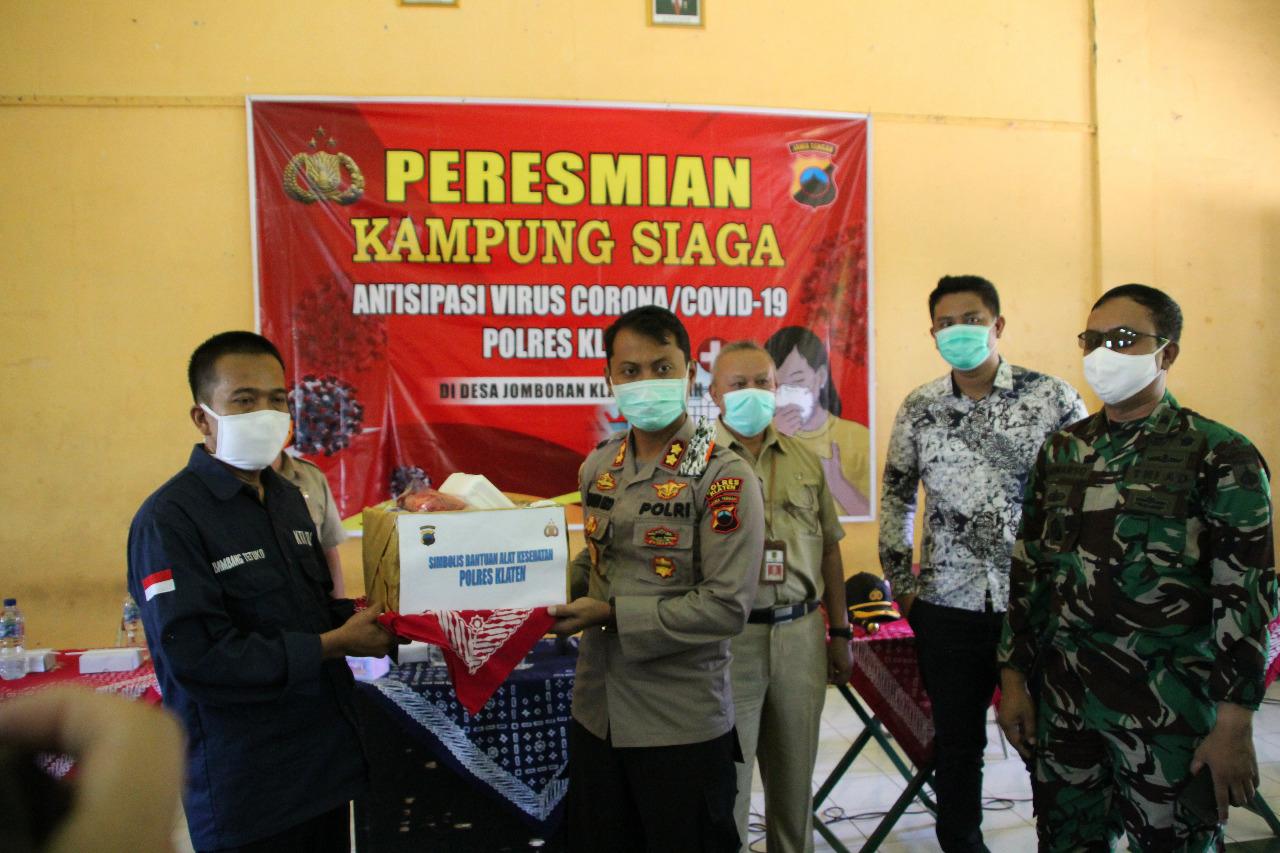 Sebagai Desa Percontohan Kapolres Klaten Resmikan Kampung Siaga Virus Corona di Desa Jomboran