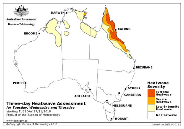 Three-day heatwave assessment for Australia, 27 November 2018. Heatwave conditions have been extreme for days in north-east Queensland. Graphic: Bureau of Meteorology