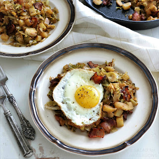 Brussels Sprouts, Potato & Apple Hash with Bacon & Crispy Eggs