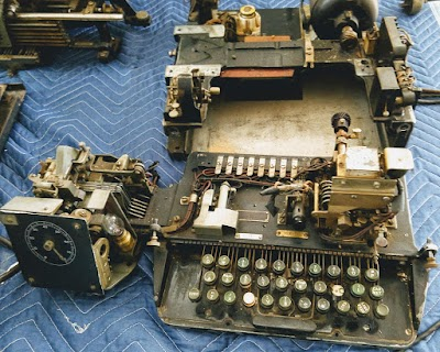 Partially disassembled Model 19 Teletype.